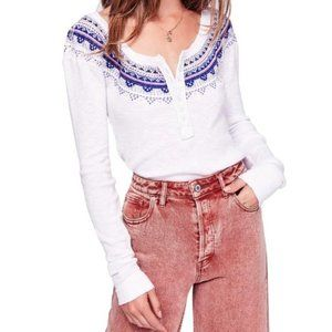 Free People Fair Isle Thermal Henley White XS